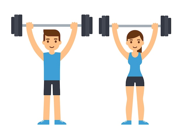 Man and woman bodybuilders lifting barbell over head. weightlifting illustration. flat style cartoon  illustration.