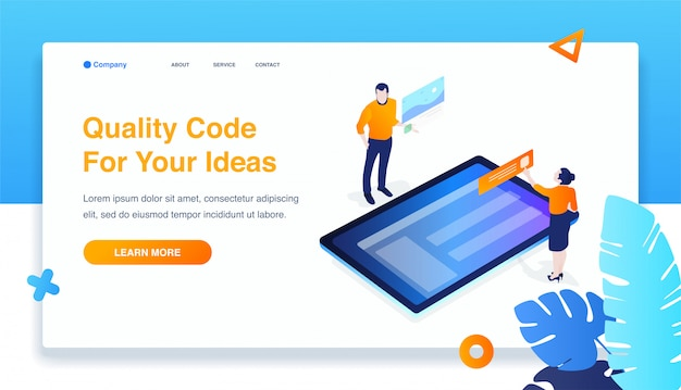 Man and woman build responsive mobile application. isometric