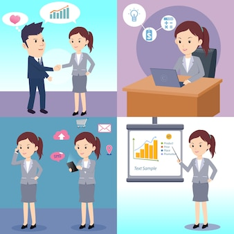 Man and woman business activity