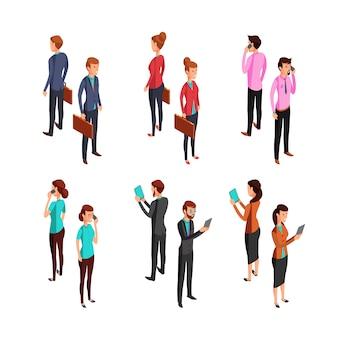 Man and woman businessman. isometric 3d standing young female and male office persons.