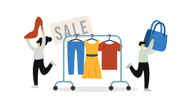 Man and woman buy clothes in store for sale at discount. a dress, a t-shirt, jeans are hanging