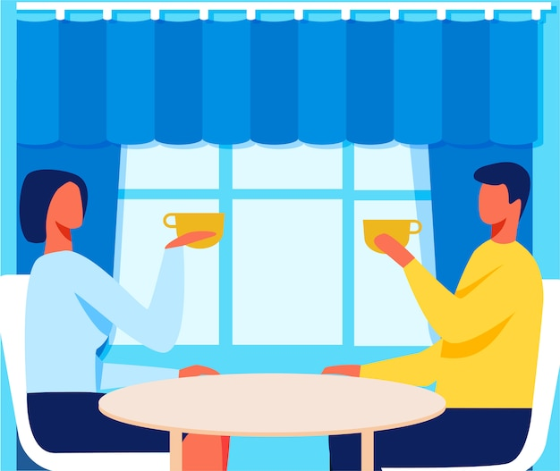 Man and woman in cafe on romantic date cartoon