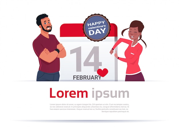 Man and woman over calendar day with 14 february day happy valentines holiday template banner