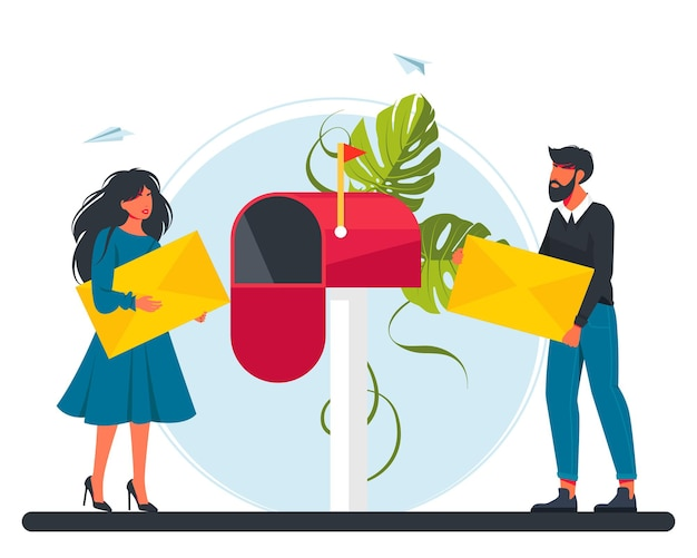 Man and woman carries a letter in the mailbox. email concept illustration, subscribe to newsletters. girl carries a letter to the post office. idea of posta communication. vector illustration