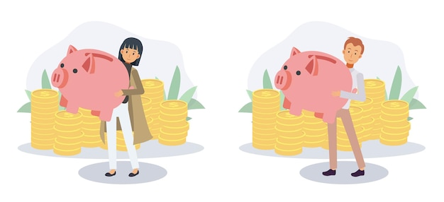 Man and woman carry piggy bank for economy purposes saving money.economy and financial independence,saving money concept.flat vector 2d cartoon character illustration.