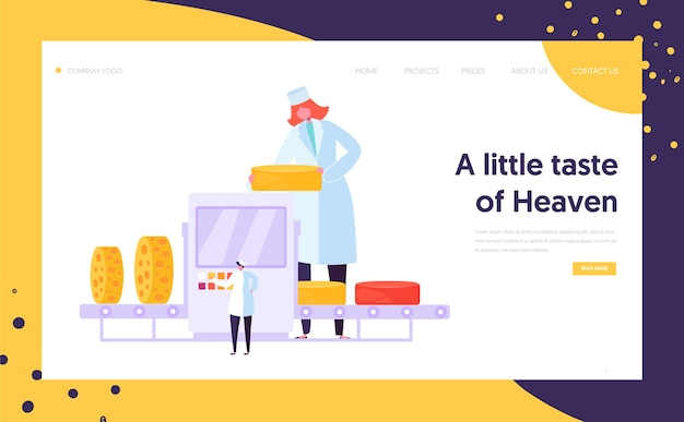 Man woman character at cheese packing factory line landing page.