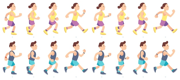Man and woman character running. people animation