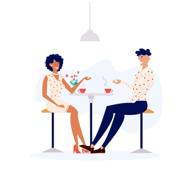 Man and woman character talking drinking coffee