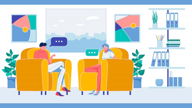 Man and woman characters sitting on armchairs.