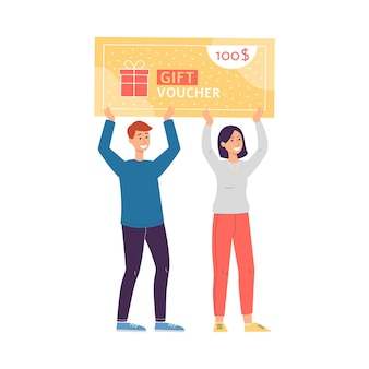 Man and woman characters with gift voucher flat vector illustration isolated