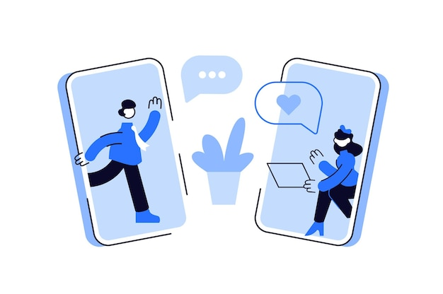 Man and woman chatting online in social media