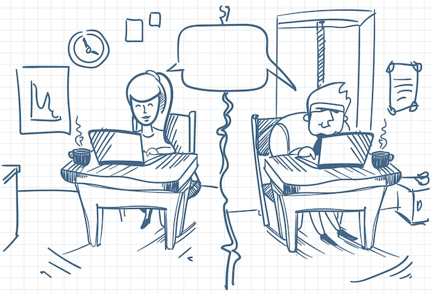 Man and woman chatting sitting at computers at office social media communication doodle