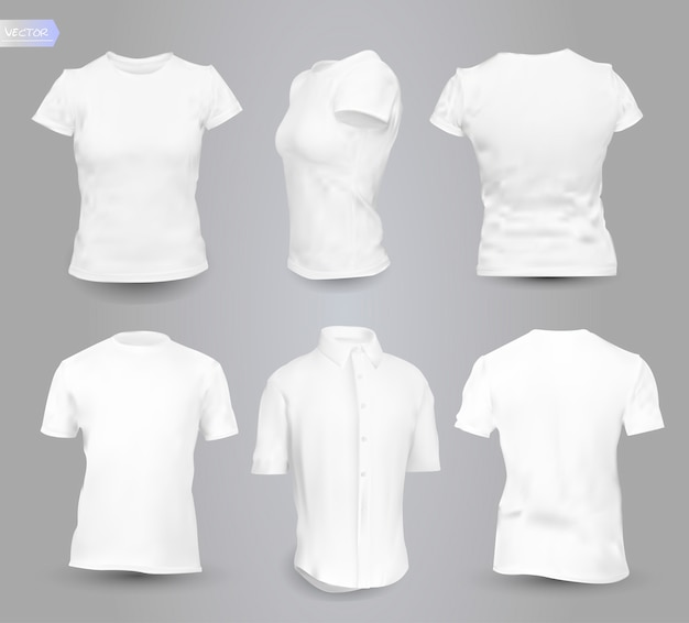 Man and woman clean white shirts set.