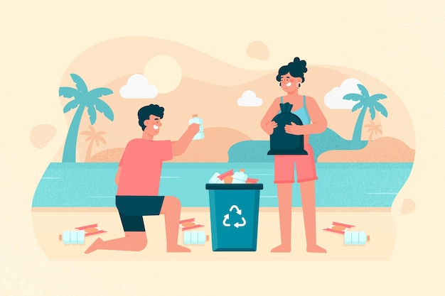 Man and woman cleaning beach illustration