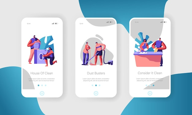 Man and woman cleaning home. mobile app page onboard screen set