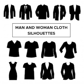 Man and woman clothes silhouettes collection