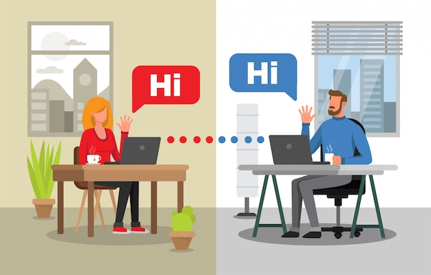 Man and woman communicating by video conference. two different backgrounds for each character. virtual meeting.