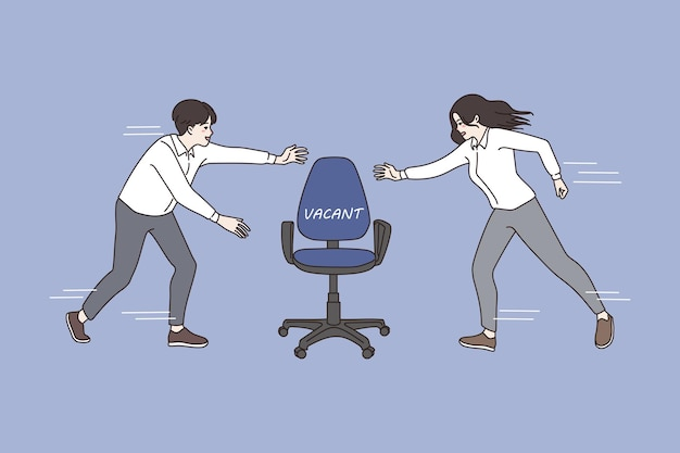 Man and woman compete for office vacant position