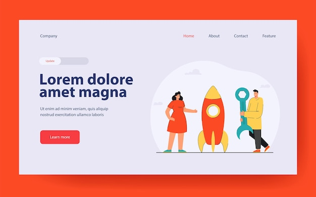 Man and woman constructing rocket with tool landing page in flat style