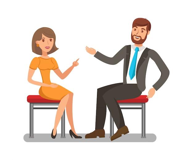 Man, woman conversation flat
