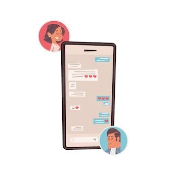 모바일 앱 발렌타인 데이 축하 개념 인사말 카드 배너 초대 포스터 그림에서 채팅 사랑에 남자 여자 커플