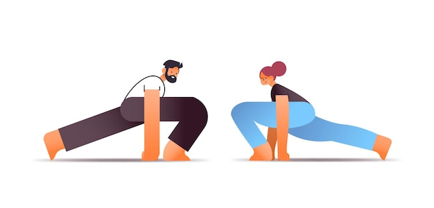 Man woman couple in sportswear doing stretching exercises healthy lifestyle concept