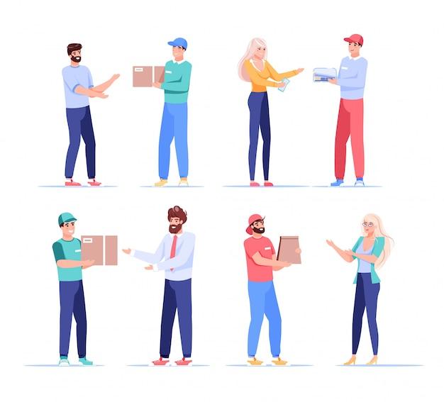 Мужчина женщина клиент доставщик характер связи отношения. быстрая и надежная доставка до двери. курьер вручает картонную посылку, продуктовый пакет, продуктовый пакет. набор людей, изолированные на белом
