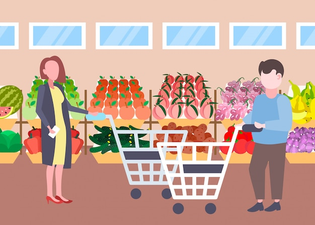 Man woman customers holding trolley cart buying fresh organic fruits vegetables modern supermarket shopping mall interior cartoon characters full length flat horizontal