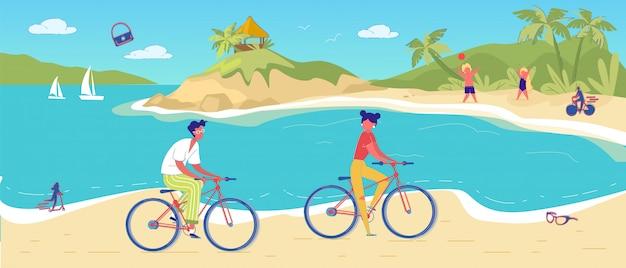 Man woman cycling in tropical sand beach resort