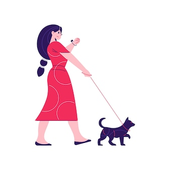 Man woman daily routine composition with character of woman walking her dog