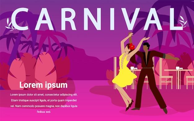 Man and woman dance ballroom dances at carnival.