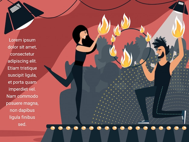 Man and woman dancing and juggling with fire.