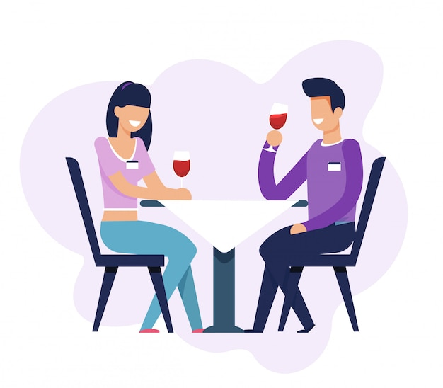 Man and woman on dating sitting at table isolated