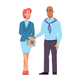 Man and woman of different races shaking hands