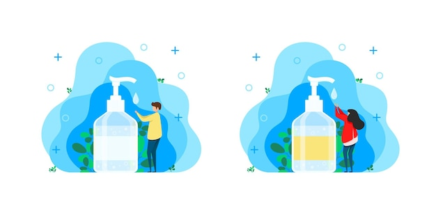 Man and woman disinfects hands with hand sanitizer. sanitizer or hand soap to kill bacteria and germs. treatment for hands, isolated bottle with hand degreaser