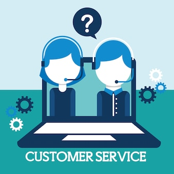 Man and woman dispatcher in laptop customer service