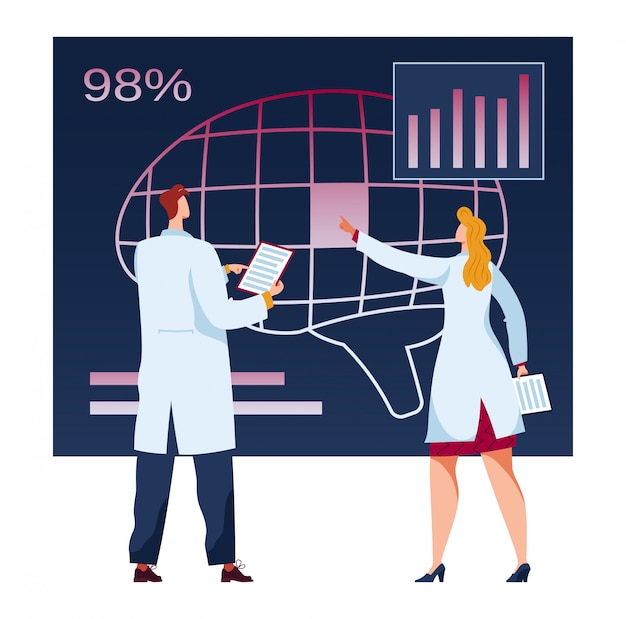 Man, woman doctor, future medicine, examination, analysis patient expertise data in isolation, on white, flat illustration.