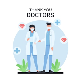 Man and woman doctor stand with thank you text