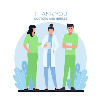 Man and woman doctors stand with thank you text