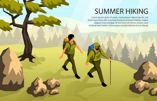 Uomo e donna che fanno campeggio camminando nella foresta con zaini 3d illustrazione isometrica orizzontale