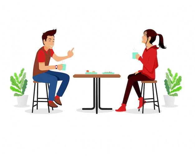 Man and woman drinking coffee in a cafe vector flat illustration.  time in the cafeteria. couple in cafe