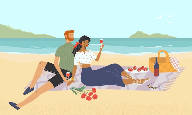 Man and woman drinking wine and eating lunch on the seashore. happy couple is on a picnic on the beach. young family relaxing with marine landscape view. flat colorful  illustration.