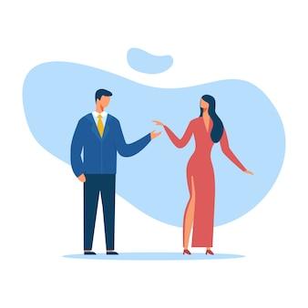 Man and woman in elegant clothes cutout cartoon