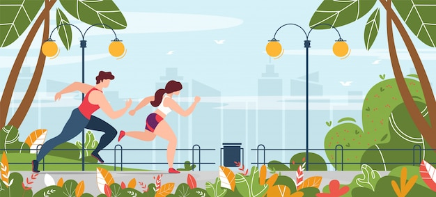Man and woman engaged in fitness running in park banner