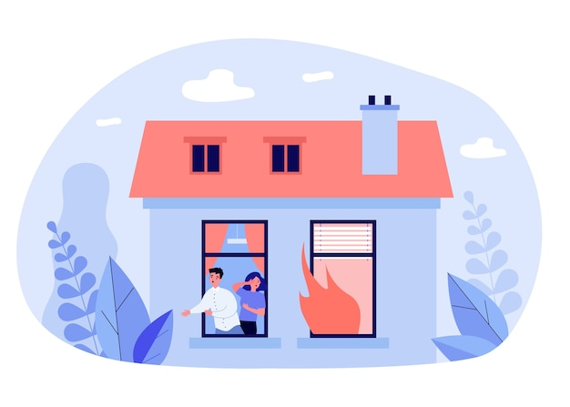 Man and woman escaping house fire in flat design