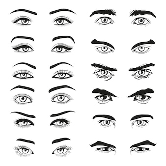 Man and woman eyes and eyebrows set