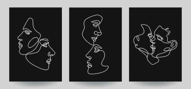 Man and woman face compositions covers with lineart vector illustration