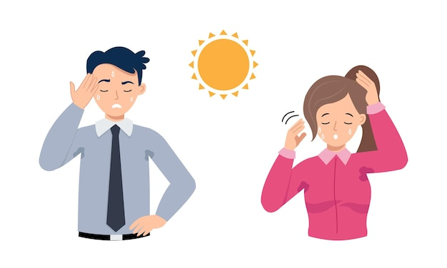 Man and woman feels hot and wiping their sweat flat vector cartoon design