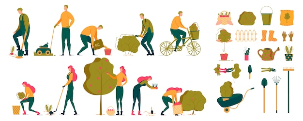Man and woman gardener animated character set