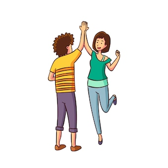 Man and woman giving high five